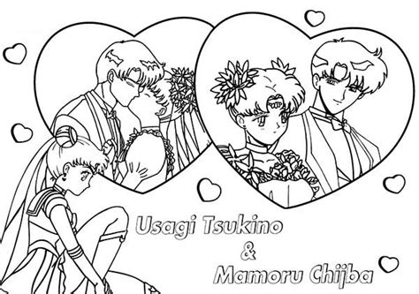 Mamoru Chiba And Tsukino Usagi In Sailor Moon Coloring