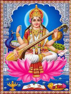 Goddess Saraswati Poster 11 X 9 Inches Unframed