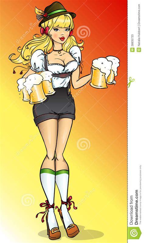 beer fest girl  bavarian costume stock vector