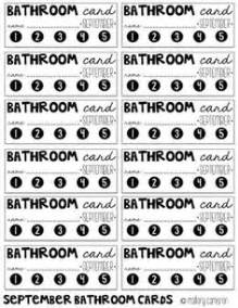 bathroom sign out sheet school pinterest classroom With bathroom pass punch card
