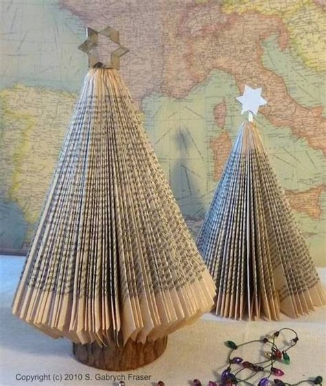 book page christmas tree tutorial crafts pinterest