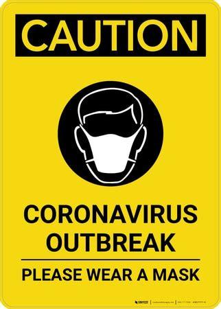 caution coronavirus outbreak  wear masks  icon