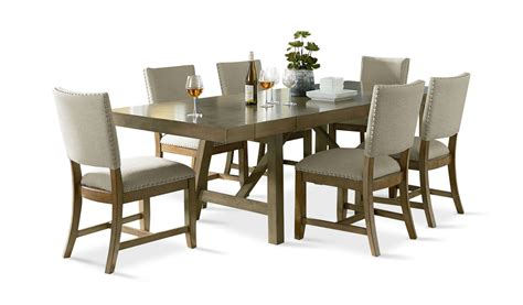 omaha grey dining table   upholstered side chairs