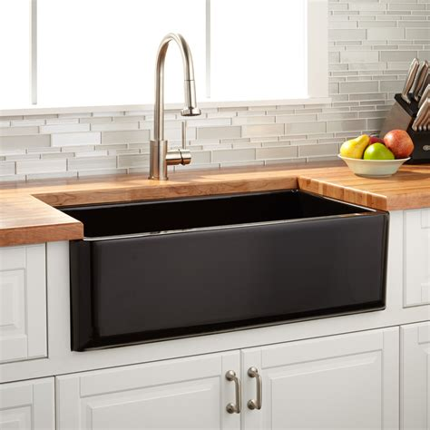 black stainless kitchen sink 33 quot grigham reversible fireclay farmhouse sink black