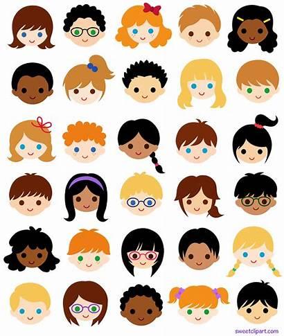 Faces Clipart Clip Multicultural Classroom Face Children
