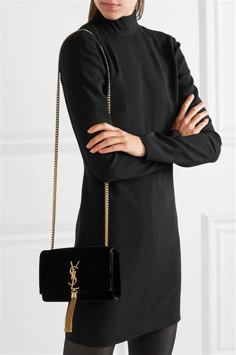 saint laurent monogram kate suede black velvet shoulder