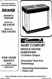 Kenmore Humidifier Instruction Manual