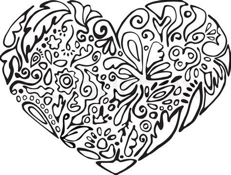 black  white heart floral ornament stock vector