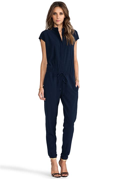 vince jumpsuit vince jumpsuit in navy in blue lyst