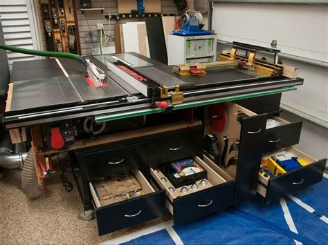 sawstop  router cabinet infeed table outfeed table