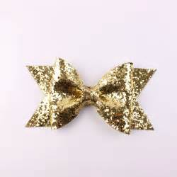 large gold glitter bow fabric bow hair clip for