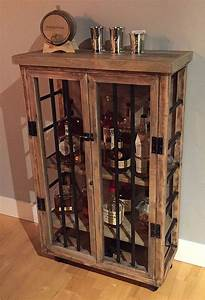 Liquor Cabinet, Rustic Iron and Wood with Natural