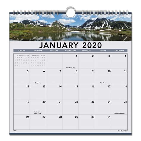 landscape monthly wall calendar sierra office systems