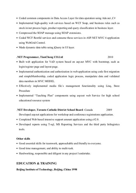 Fast Paced Environment Resume by Net Developer Resume Ming Zhao
