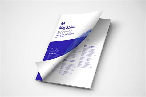 A4 brochure cover free mockup to showcase your branding project in a photorealistic style. A4 Magazine Cover Opening PSD Mockup - Free PSD Mockups