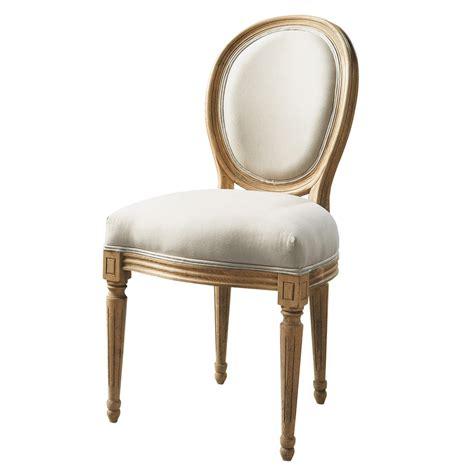 chaise en chêne massif chaise médaillon en coton et chêne massif écrue louis