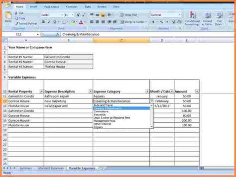rental property spreadsheet template excel