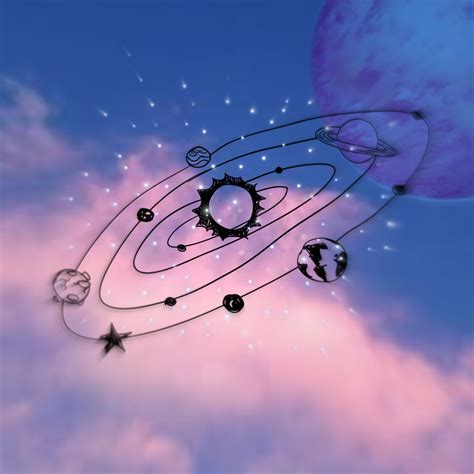 galaxy pink moon backround clouds aesthetic blue planet