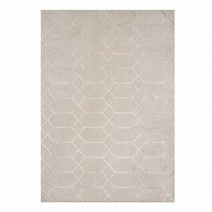 tapis contemporain graphique beige et gris en viscose With tapis contemporain gris