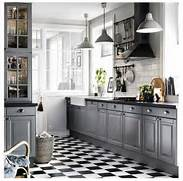Ikea Kitchen Flooring Ikea Grey Kitchen With Black And White Tiled Floor Lovely Kitchen
