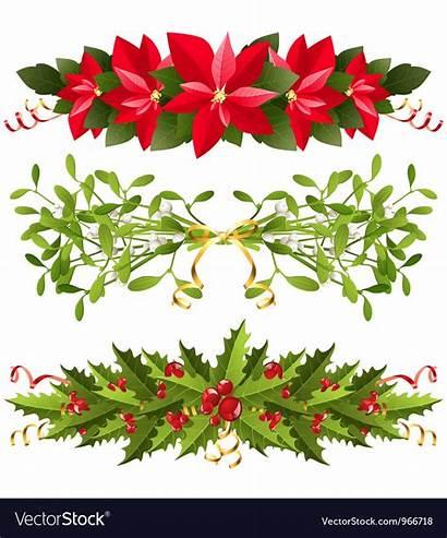 Christmas Floral Borders Vector Royalty Vectors