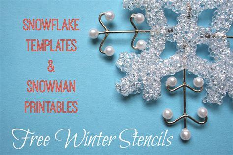 winter stencils printable snowflake snowman
