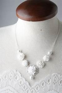 collier de mariage fleur blanche de style ancien perles With bijoux mariage vintage