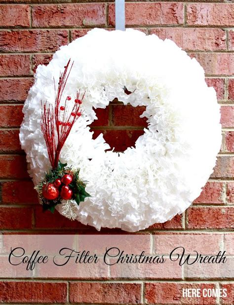 They are simply gorgeous and i knew i wanted to make one for baby i love the texture the coffee filters bring and the romantic look. Coffee Filter Christmas Wreath | Here Comes The Sun