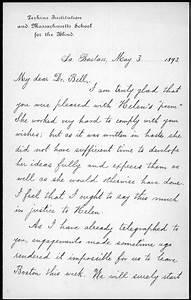 Letter From Annie M  Sullivan To Alexander Graham Bell