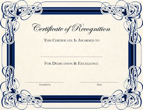 Certificate Of Recognition Template Certificate Of Recognition Editable Template