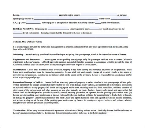 7 Parking Lease Agreement Templates  Samples , Examples