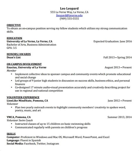 resume templates  students  university