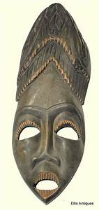 ANTIQUE AFRICAN HAITI TRIBAL WOOD TIKI VOODOO MASK LARGE ...