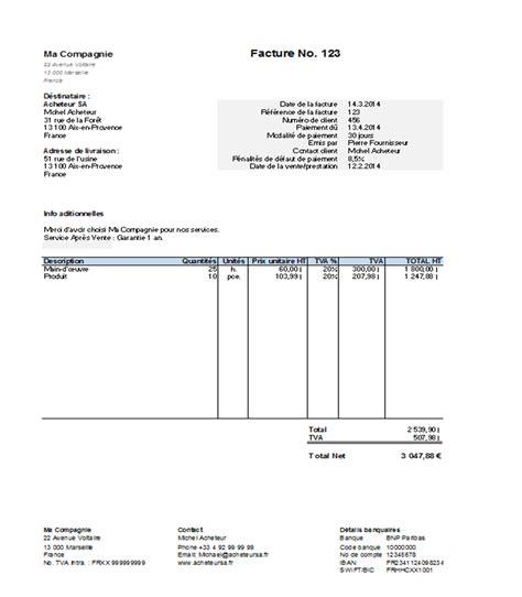 mod 232 le gratuit de facture 224 t 233 l 233 charger sous format excel