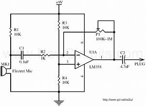 amplifier electret mic signal amplification without dc With return to circuits circuit design ideas