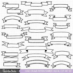 Hand Drawn Clipart Ribbon Banner Clip Art Commercial Use