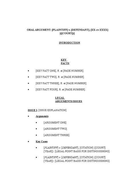 oral argument outline template