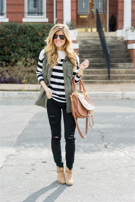 Army Green Vest Outfit With Black And White Stripes