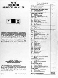 1988 Pontiac Firebird  U0026 Trans Am Repair Shop Manual Original