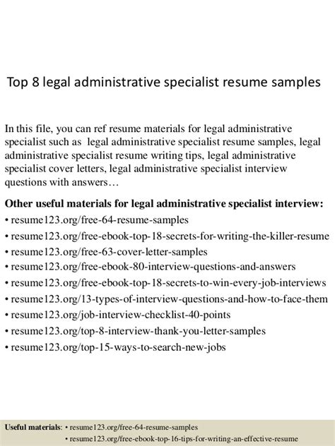 top 8 administrative specialist resume sles