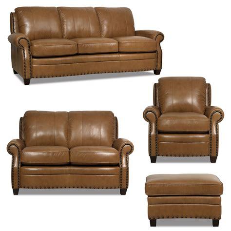luke leather  piece sofa set  bennett brown sofa
