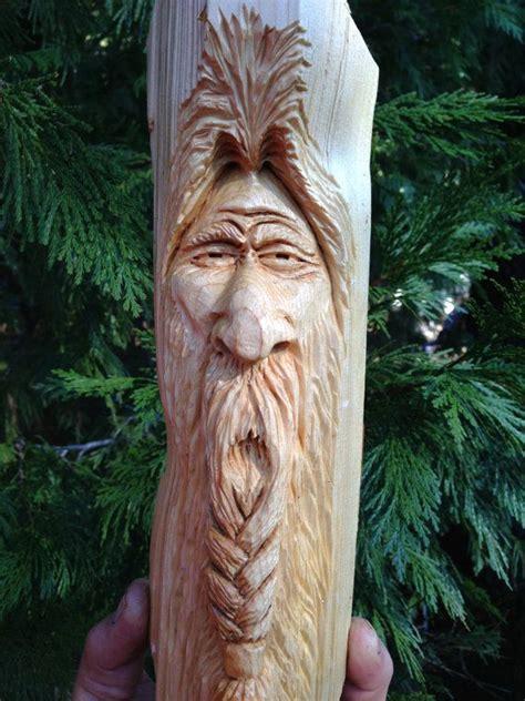 hand carved braided beard viking wizard wood spirit