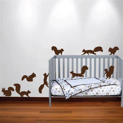 Squirrel Chipmunk Wall Decal Nursery Sticker Set Forest