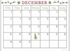 December Calendar 2018 Printable Editable Template