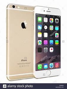 Apple Gold iPhone 6 Plus showing the home screen with iOS ...
