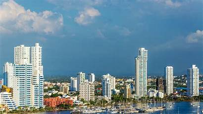 Colombia Cartagena Wallpapers Skyscrapers Urban Background Marina