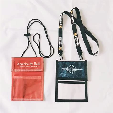 Neck Hanging Dompet fashion business card hanging passport holder with lanyard