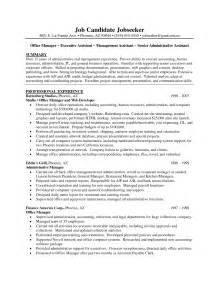 back office executive experience resume sle summary executive administrative assistant resume with professional experience in office