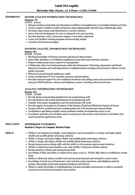 analyst information technology resume samples velvet jobs