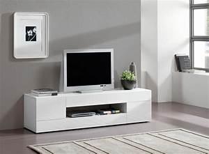 Meuble Tv Blanc Laqué : meuble tv blanc moderne choix d 39 lectrom nager ~ Teatrodelosmanantiales.com Idées de Décoration